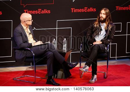 NEW YORK-AUG 14: Actor/musician Jared Leto (R) and journalist Logan Hill attend 'TimesTalks Presents An Evening With Jared Leto' at The Times Center on August 14, 2014 in New York City.