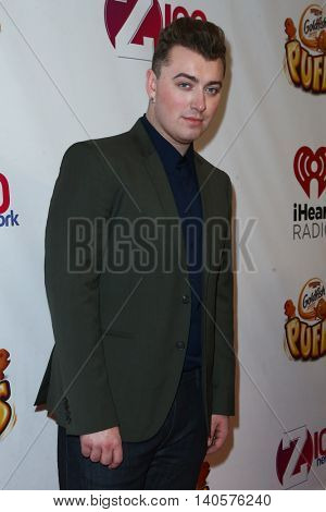 NEW YORK-DEC 12: Singer Sam Smith attends Z100's Jingle Ball 2014 at Madison Square Garden on December 12, 2014 in New York City.