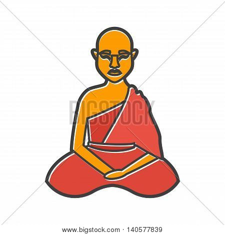 Buddhist monk icon in flat style on a white background
