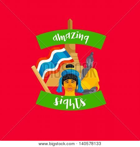 Amazing sights lettering icon in flat style on a red background