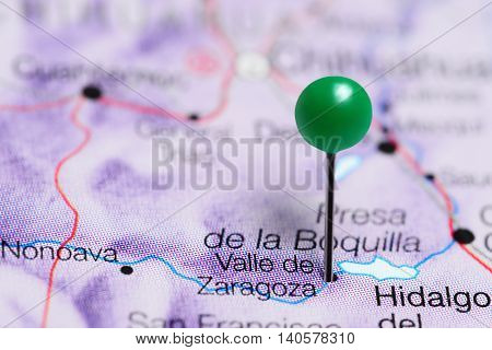 Valle de Zaragoza pinned on a map of Mexico