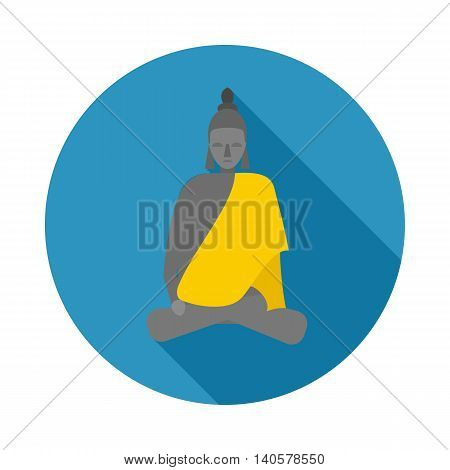 Buddha statue icon in flat style on a white background