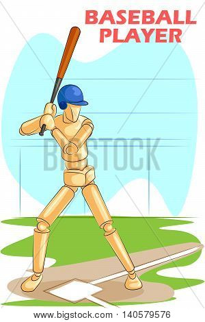 Wooden human mannequin Baseball Player hitting with bat. Vector illustration
