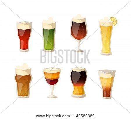 Beer vector icons set. Beer bottle, glass and different types of beer