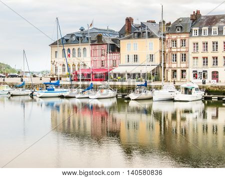 HONFLEUR, FRANCE - MAY 7, 2014: Old harbor Honfleur, Normandy, France