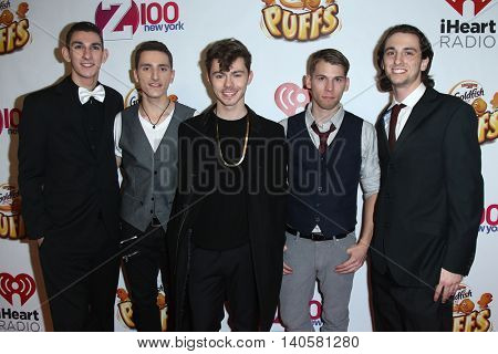 NEW YORK-DEC 12: (L-R) Tyler O'Leary, Nick Yurisak, Joseph Mastando, Lenny Morales and Nick Cardona of Pros & iCons attend Z100's Jingle Ball 2014 at Madison Square Garden in New York City.