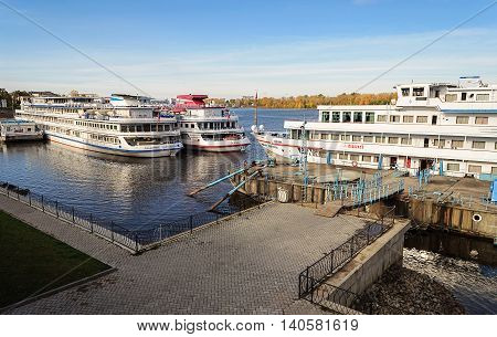 UGLICH, RUSSIA - SEPTEMBER 27, 2011: Passenger ships at the berth of Uglich, Volga river