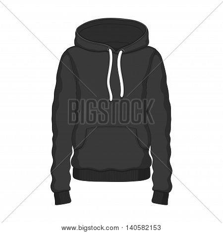 Hoodie black clothing hood on white background