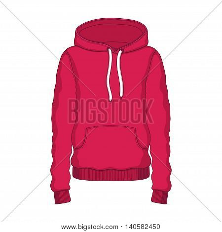 Vector linear Hoodie red clothing hood on white background