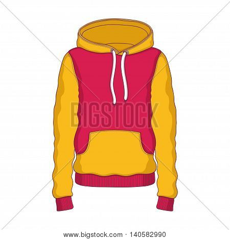 Vector linear Hoodie red and yellow clothing hood