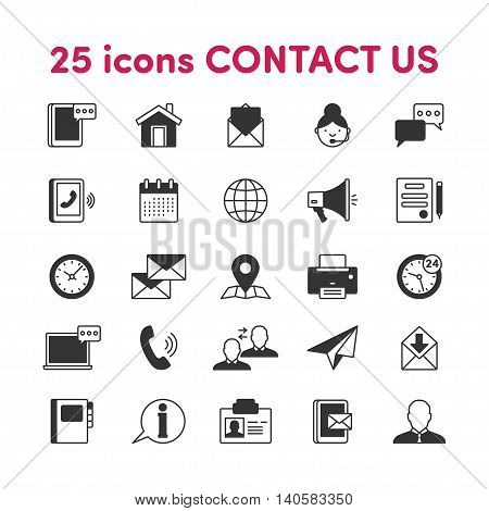 Thin lines web icons set Contact us
