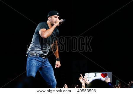 HARTFORD, CT-SEP 13: Singer Luke Bryan performs in concert at the XFINITY Theatre on September 13, 2014 in Hartford, Connecticut.
