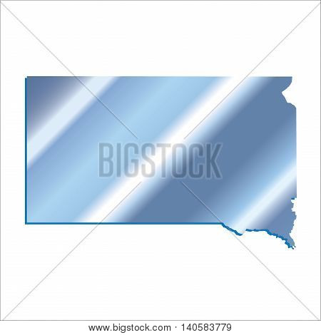 3D South Dakota State Iridium Blue outline map with shadow