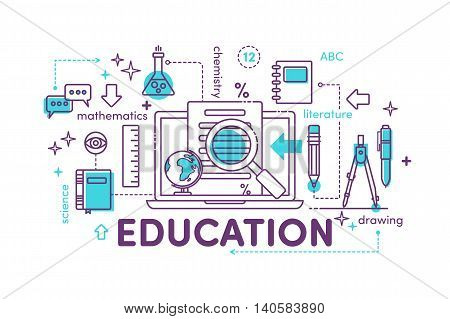 Thin line flat design banners for video tutorials online training courses online universities online education. Vector illustrations for website banners promotional materials education app.