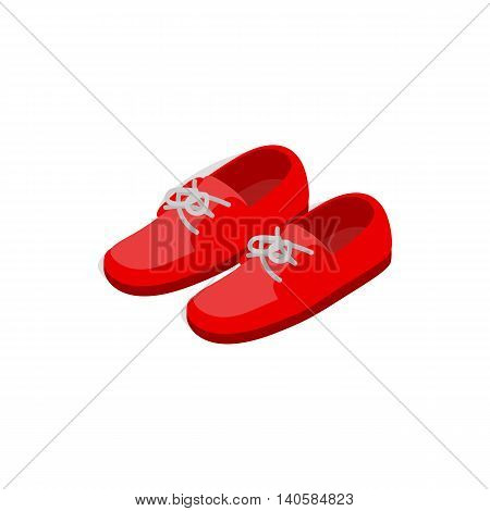 Pair of red shoes icon in isometric 3d style on a white background