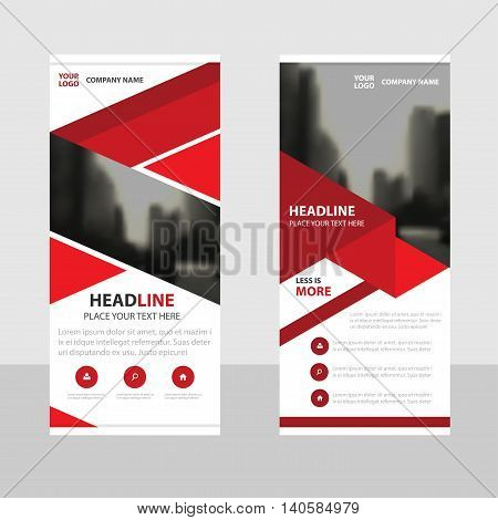 Red Business Roll Up Banner flat design template Abstract Geometric banner template Vector illustration set abstract presentation brochure flyer template vertical template vector