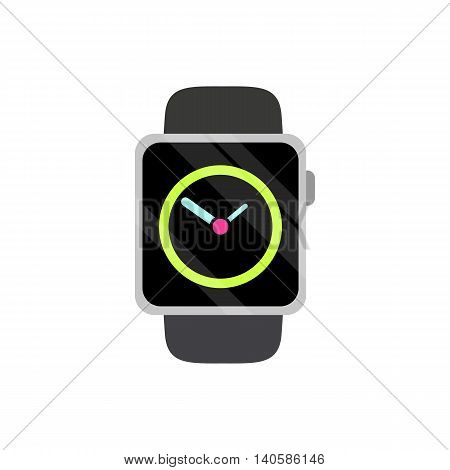 Modern wristwatch icon in flat style on a white background