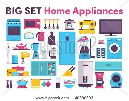 gas stove sewing machine refrigerator air conditioner microwave oven ladle steamer slow cooker TV toaster kettle teapot knife set blender grater mixer pots dishes tableware water heater wardrobe coffee maker heater speakers vacuum cleaner iron
