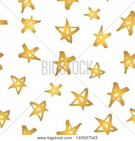 Abstract modern seamless pattern with gold stars. Hand drawn golden stars on white. Shiny background like gold foil.