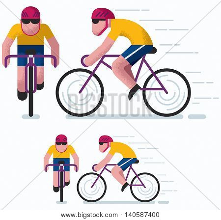 Illustration of man cycling in 2 poses and 2 color versions.