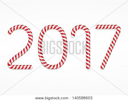 New year number 2017 made of candy canes, vector eps10 illustration