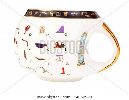 Eqyptian Teacup With Hieroglyph Translation