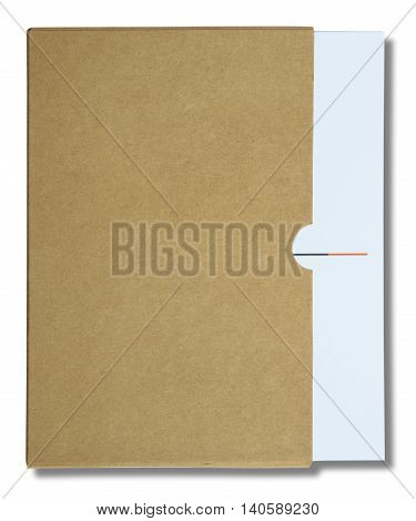 White notebook in brown paper case isolated on white background