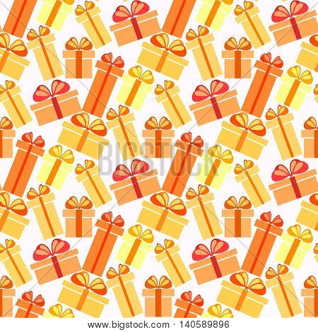 Gift boxes seamless pattern. Pattern for fabric print, wrapping or packaging paper design. Red, orange, yellow colorful boxes with ribbon and bow on light background. Vector illustration stock vector.