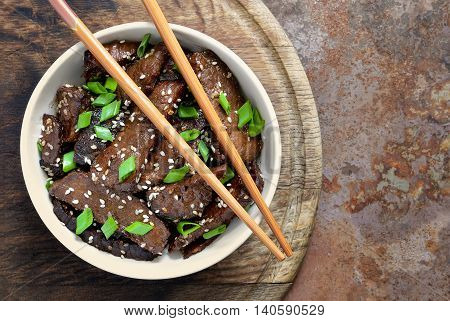 Homemade beef cooked in a traditional asian style