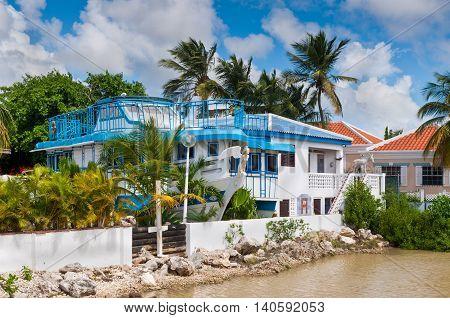 Kralendijk Bonaire - December 2 2011: The villa was built as a yacht in Kralendik on Bonaire Netherlands Antilles at December 2 2011.