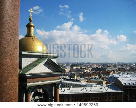 St. Petersburg, Russia, July 8:  View from Saint Isaac's Cathedral observation deck overlooking the city.
