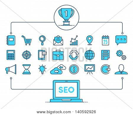 Icons SEO integrated thin line symbols. Modern linear style vector concept. Abstract background illustration for digital network analytics social media and market concept