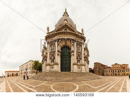 Panorama of Basilica di Santa Maria della Salute in Venice, Italy