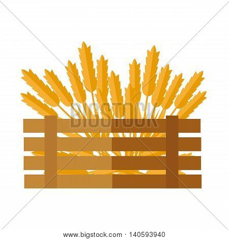 Ears of cereal vector. Flat design. New harvest, grain growing concept. Illustration of wooden box, full of wheat, rye, oat, ears for bakery, bread store, agricultural company ad printing, web design.