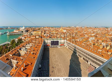 Aerial view of Venice. Sea, Piazza San Marco and roofs of houses from San Marco tower. Italy.