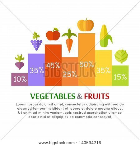 Vegetables fruits conceptual vector In flat style design. Column infographics with different greens species. Illustration for diet, economical, farming concepts and banners. Isolated on white.