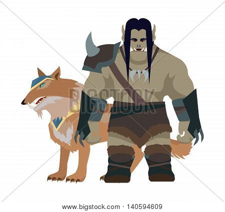 Cartoon monster orc with wolf. Orc warrior. Stylized fantasy character. War concept. For computer games, mobile appliances. Part of series of game objects in flat design. Vector illustration.