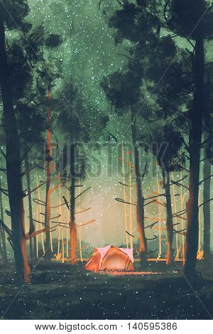 camping in forest at night with stars and fireflies, illustration digital painting