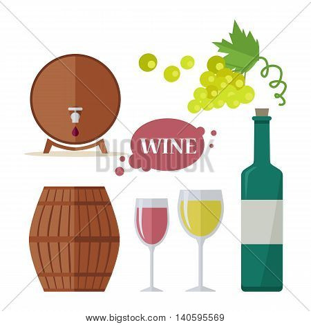 Wine consumption icon set. Collection of glasses, grapes, bottle, barrels. Check elite vintage strong red and white vine. Part of series of viniculture production and preparation items. Vector