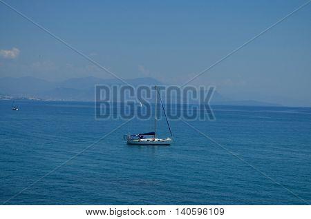 sailing boat on mediterranean sea at french riviera