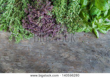 Fresh Tarragon, Oregano, Basil, Thyme On A Wooden Table Background