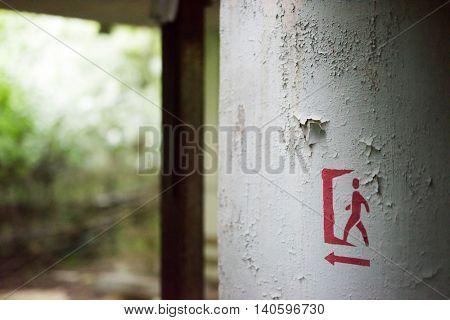 Sign on a door in abandoned swimming pool in Pripyat school, Chernobyl, Ukraine