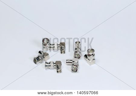 Group of joints bend BNC connector isolated on white background.