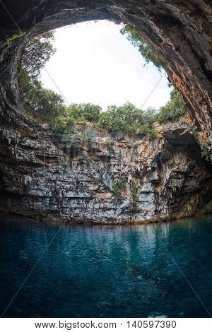 Image of famous melissani lake on Kefalonia island in Greece