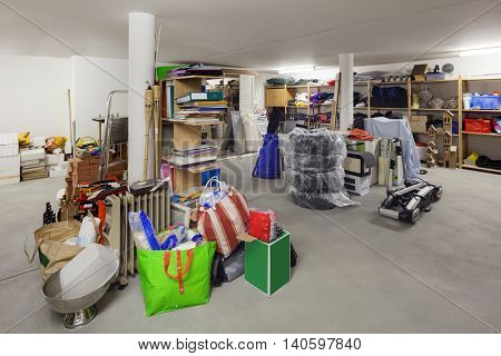 warehouse of house, room with disorder objects
