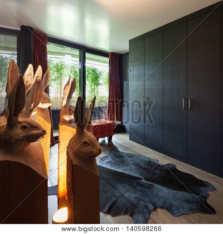 Dressing room of a luxury house, black furniture