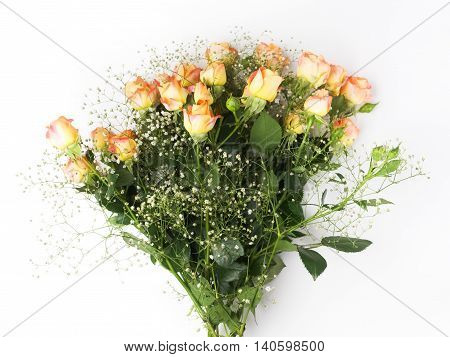beautiful bouquet of orange roses on white background