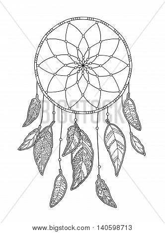 Hand drawn monochrome Dreamcatcher isolated on white background. Native American Indian talisman. Vector illustration.