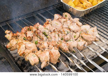 Grilling marinated shashlik on grill. Friends meeting, family reunion, leisure and weekends.