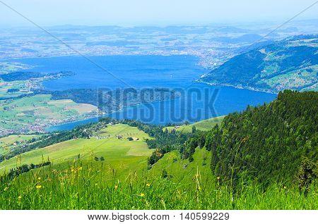 Breathtaking view from Rigi mountain. Swiss Alps.